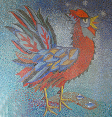 The cockerel mosaic in St. Peter's Church